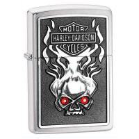 Zippo High Polished Chrome, Harley Davidson Skull w/Red Crystals