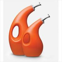 2-Piece EVOO & Vinegar Dispensing Bottles w/ Funnel (Orange)