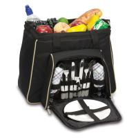 Picnic Time Toluca Cooler Tote, Black with Tan