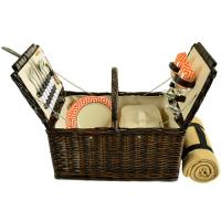 Picnic at Ascot 713B-DO Surrey Willow Picnic Basket with Blanket and Service for 2 - Diamond Orange