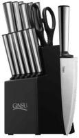 Ginsu 05253 Koden Series Serrated Stainless Steel Ever Sharp 14-Piece Block Cutlery Set, Black