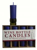 Vintage Concepts Set of 4 Bottle Candles, Blue
