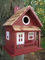 Home Bazaar Little Cabin Birdhouse - Red