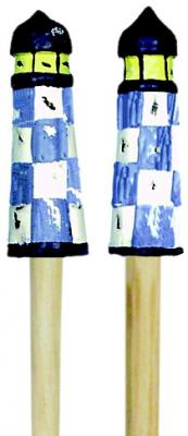 Songbird Essentials Salad Server - Lighthouse, Blue & White Checkered