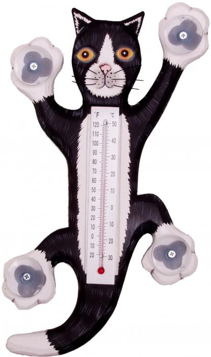 Songbird Essentials Climbing Black & White Cat Large Window Thermometer