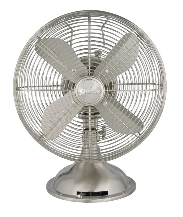 "Hunter Home Comfort 90400 12"" RETRO Fan with Brushed Nickel Finish"