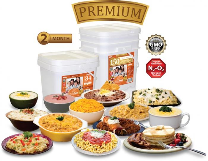 Relief Foods 3-Month Premium Emergency Food Supply - 450 Serving, Premium Entrée and Breakfast Bucket