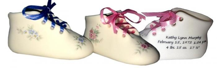 Bisque Porcelain Personalized Baby Shoe with Delicate Flowers