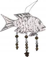 Songbird Essentials Fish Punched Metal & Bead Ornament