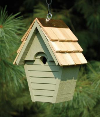 Heartwood Wren-In-The-Wind Birdhouse, Celery