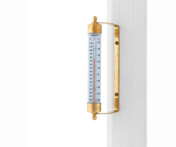 Conant Custom Brass Vermont Indoor Outdoor Thermometer Living Finish Brass