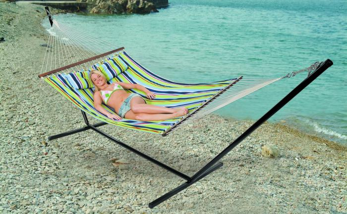 "Stansport Antigua Cotton Hammock with Stand - Double - 78"" x 57"""