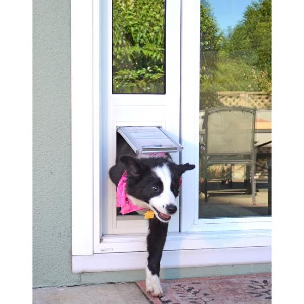 "Endura Flap Pet Door, Thermo Panel 3e, Small Flap, 6""w x 11""h  - 74.75-77.75"" Tal, Silver Frame"