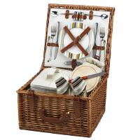 Picnic at Ascot Cheshire English-Style Willow Picnic Basket with Service for 2 - Santa Cruz
