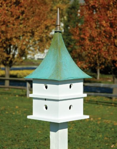 Heartwood Cypress Landing Birdhouse, White with Verdigris Roof