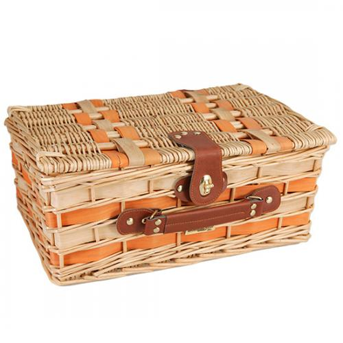Picnic and Beyond Willow Picnic Basket for Two, Orange