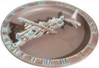 Hummingbird Sundial Birdbath - Copper Verdi