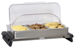 BroilKing Professional Triple Buffet Server with Stainless Base and Rolltop Lid