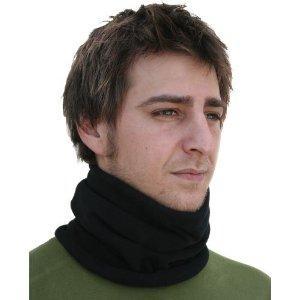 Cold Weather Headwear Neck Warmer, Microfleece, Black