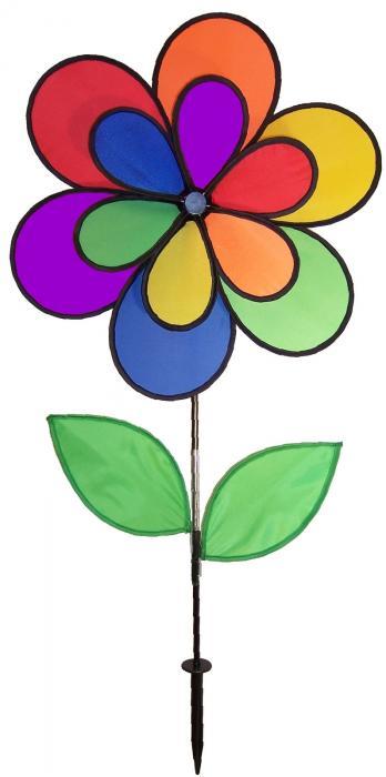 In The Breeze Double Wheel 12 Petal Flower w/ Leaves Spinner