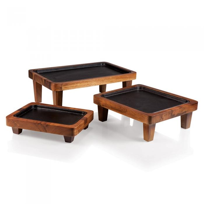Picnic Time Raccolta Nested Serving Pedestals with Inlaid Iron Griddles (Acacia)