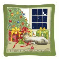 Alice's Cottage Holiday Cat Single Mug Mat