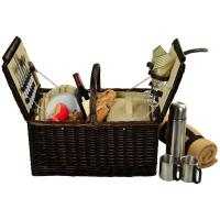 Picnic at Ascot Surrey Willow Picnic Basket with Service for 2 with Blanket and Coffee Set - Hamptons
