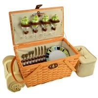 Picnic at Ascot Settler Traditional American Style Picnic Basket with Service for 4 - Trellis Green