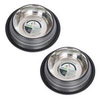 2 Pack Color Splash Stripe Non-Skid Pet Bowl for Dog or Cat - Black - 32 oz - 4 cup