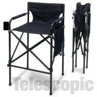 Telescopic Tall Director Chair, Black