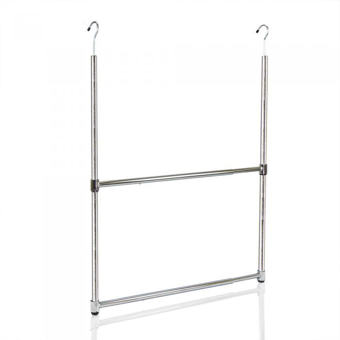 Oceanstar 2-Tier Portable Adjustable Closet Hanger Rod, Chrome
