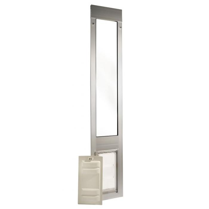 "Endura Flap Pet Door, Thermo Panel 3e, Small Flap , 6""w x 11""h -  74.75-77.75"" Tall, Silver Frame"