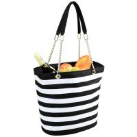 Picnic at Ascot Large Insulated Fashion Cooler Bag - 22 Can Tote - Black Stripe