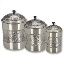 Old Dutch Set of 3 Antique Embossed Pewter Canisters 5 1/2 QT, 4 QT, 3 Qt