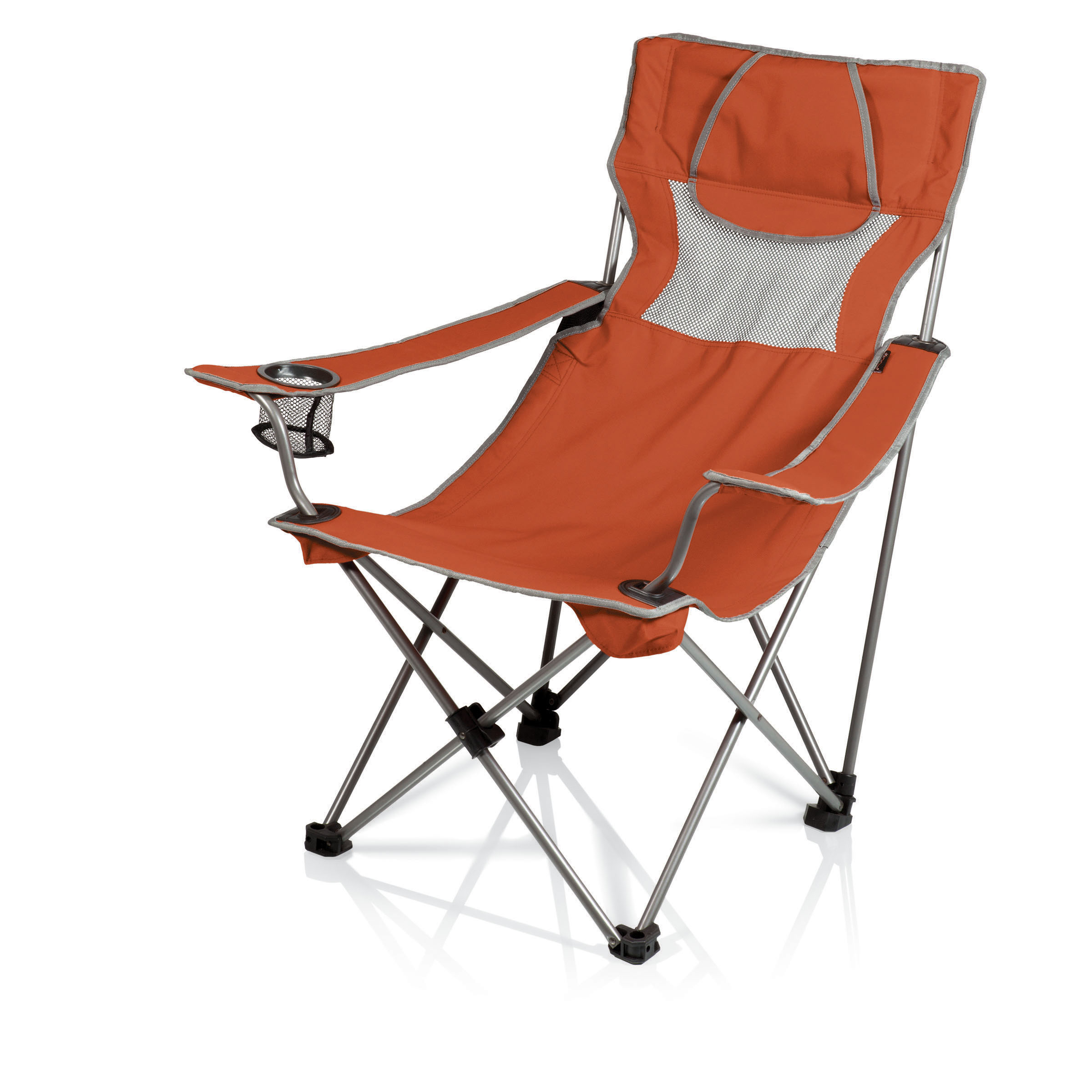 picnic time campsite folding camp chair burnt orange grey. Black Bedroom Furniture Sets. Home Design Ideas