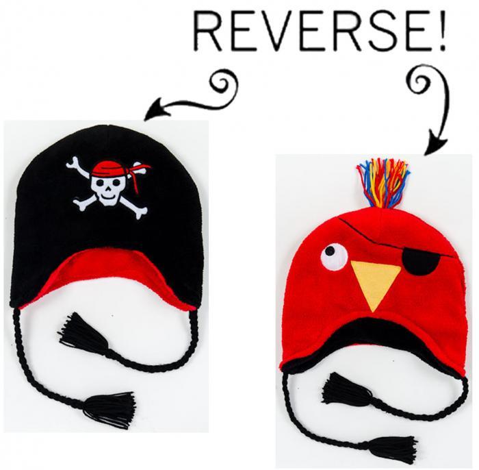 Luvali Convertibles Pirate/Parrot Reversible Kid's Winter Hat, Large
