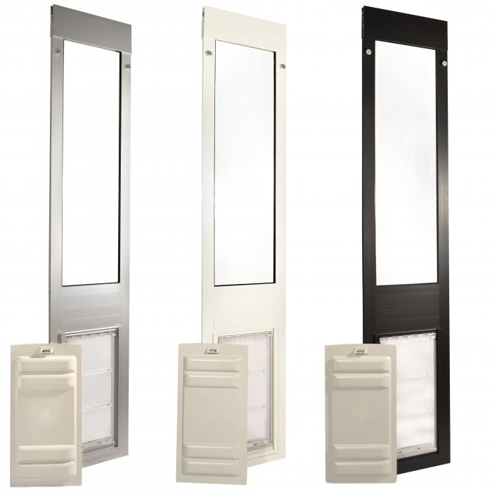 "Endura Flap Pet Door, Thermo Panel 3e, Medium Flap, 8""w x 15""h - 74.75-77.75"" Tall, Silver Frame"