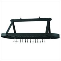 """Old Dutch 48"""" x 19"""" x 15 1/2 """" Oval Graphite Pot Rack with 24 Hooks"""