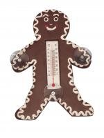 Songbird Essentials Holiday Gingerbread Man Small Window Thermometer