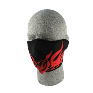 Cold Weather Headwear Neoprene Half Face Mask, Red Flames