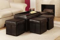 Designs2Go Manhattan Storage Bench w/ 4 Collapsible Ottomans (Espresso)