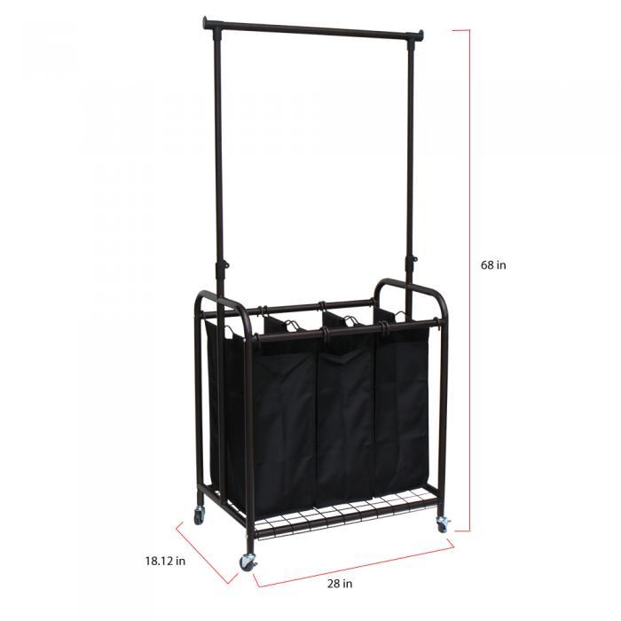 Oceanstar 3-Bag Rolling Laundry Sorter with Adjustable Hanging Bar, Bronze