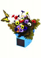 Russco III Solar Pals Fluttering Patio Pot (Blue Pot w/Yellow Butterfly)