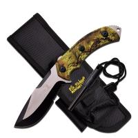 "Elk Ridge Fixed Blade Knife 4.25"" Blade-Green Camo Handle"