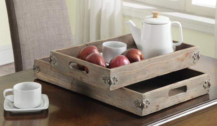 Convenience Concepts  Wyoming Two Piece Tray Set (Natural Fir Antique)