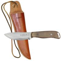 "Camillus 8.5"" Bushcrafter Fixed Blade Knife w/ 1095 Carbon Blade, Micarta Handle & Leather Sheath"