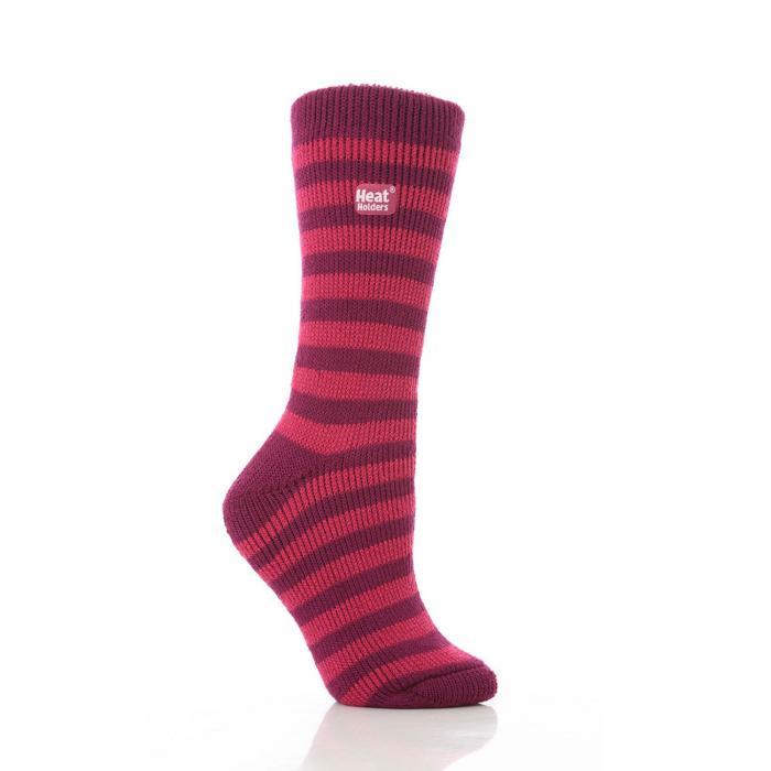 Grabber Heat Holders Ladies Striped Crew Sock-Pink