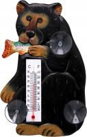 Songbird Essentials Black Bear with Trout Small Window Thermometer