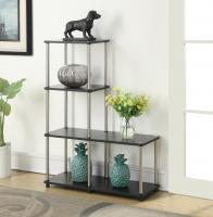 "Convenience Concepts  Multi Shelf ""L"" Bookshelf (Black)"
