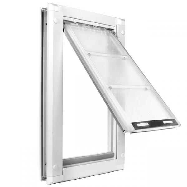 "Endura Flap Pet Door, Door Mount, Medium Single flap - 8""w x 15""h, White frame"